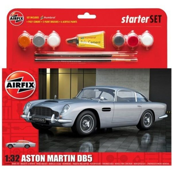 Aston Martin DB5 Silver with 6 acrylic paint and adhesive and 2 paint brushes