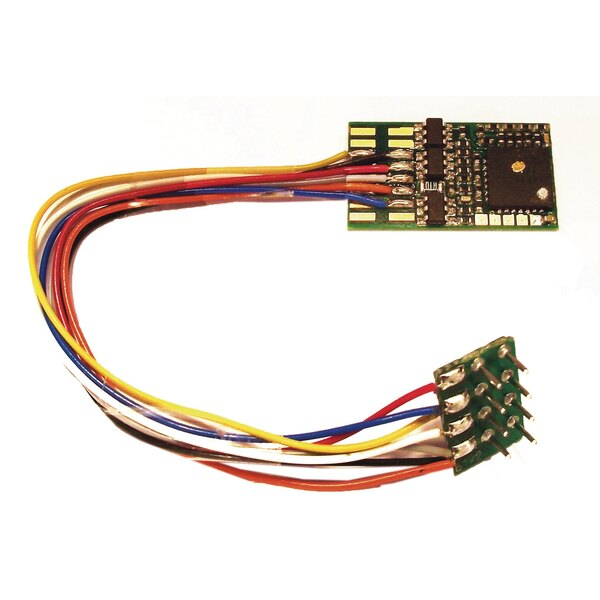DCC decoder with feedback features and 8-pin plugs (NEM 652).
