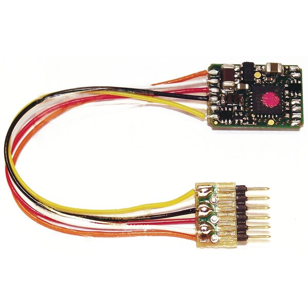 DCC decoder with feedback features and 6-pin plug (NEM 651).