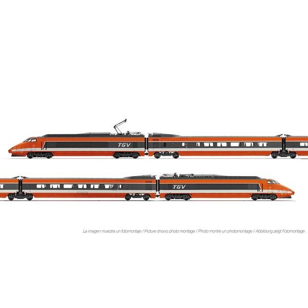 TGV Sud-Est livrée orange, coffret de 4 éléments, époqueIV