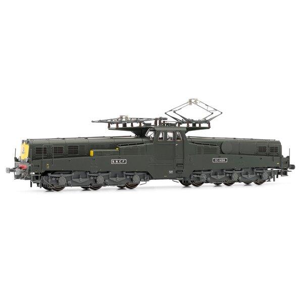 Locomotive électrique CC 14166 livrée verte, faces frontales jaunes avec feux rouges, Digital sonorisée