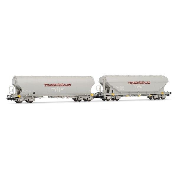 Coffret de 2 wagons céréaliers (1 à parois latérales bombées , 1 à parois latérales planes) Transcéréales-TMFépoque IV