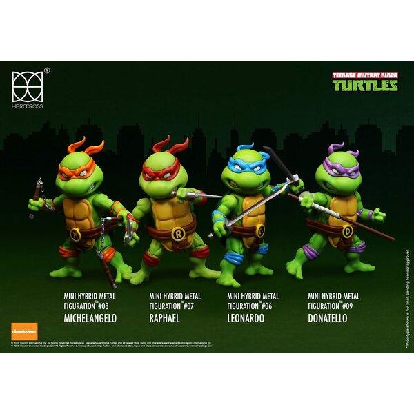 Les Tortues ninja pack 4 figurines Mini Hybrid Metal 7 cm