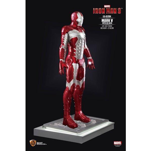 Iron Man 3 statue 1/1 Iron Man Mark V DX Base 210 cm