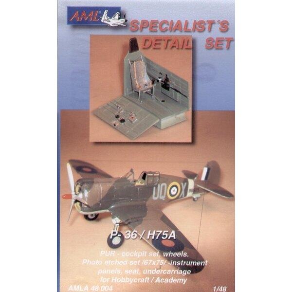 roues de cockpit et train d'atterrissage Curtiss H-75A (pour maquettes Academy et Hobbycraft)