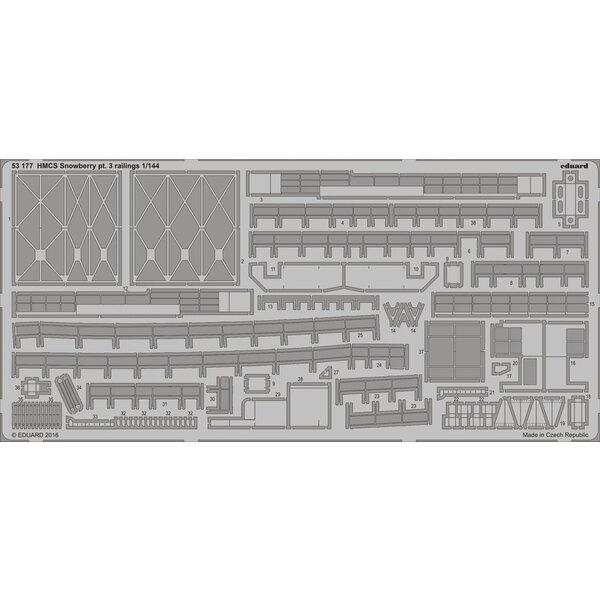 pt NCSM SNOWBERRY classe Flower Corvette.3 balustrades 1/144 (conçu pour être utilisé avec les kits Revell)