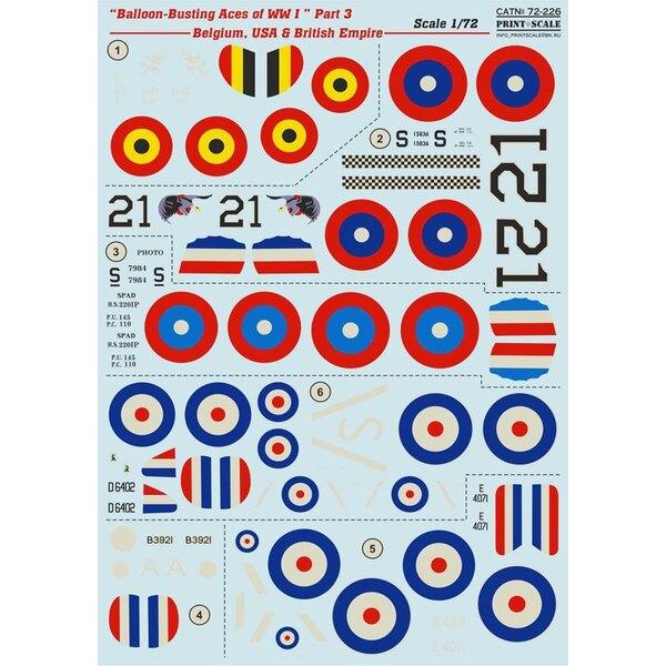 Décal Balloon-Busting Aces of WW I Partie 3 - Belgique, Etats-Unis et RFC Y compris Hanriot HD.1, Spad XIII S, SE.5A, Sopwith Ca